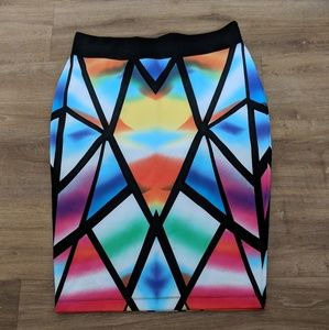 Multi color pencil skirt